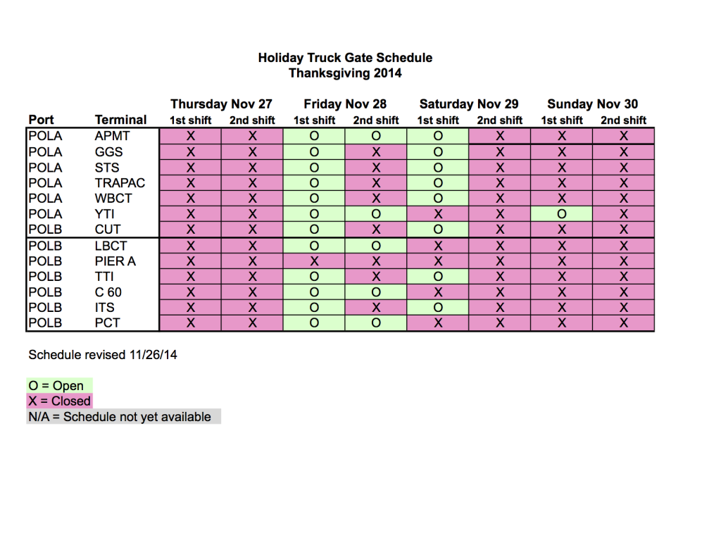 Thanksgiving 2014 Weekend Gate Schedules.revised